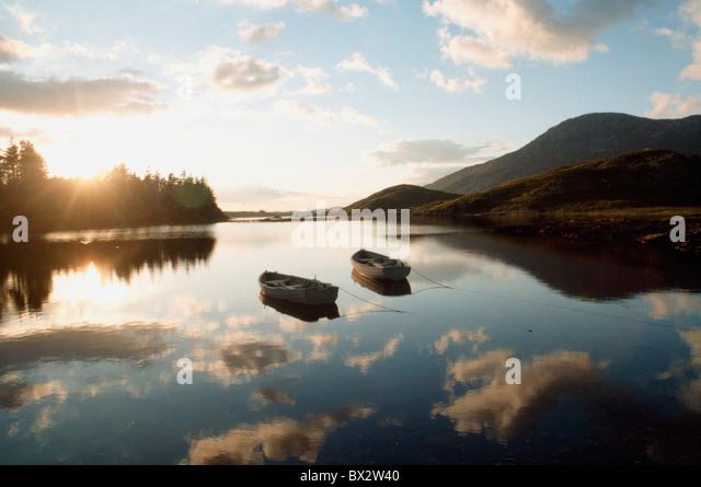 Boats On Ballynahinch Lake, Ballynahinch, County Galway, Ireland - Stock Image