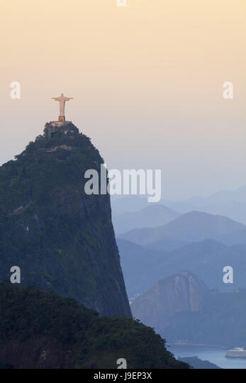 Christ on Corcovado in Tijuca national park in Rio de Janeiro - the Unesco World Heritage-listed Carioca Landscapes - Stock Image