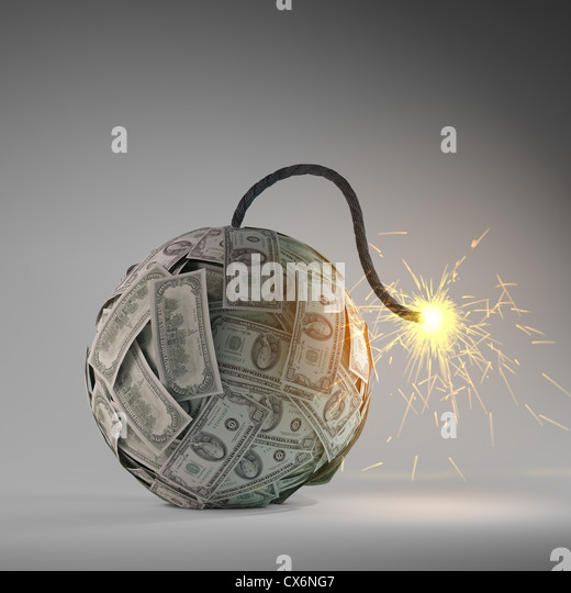 Financial crisis - an old bomb with a fuse made out of dollar bills - Stock-Bilder