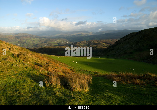 The view toward Dolgellau from Dolgledr, above the Mawddach Estuary, near Dolgellau, Snowdonia, North Wales, UK - Stock Image