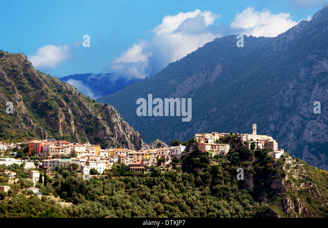 Europe, France, Alpes-Maritimes, Bonson. Perched village. - Stock Image