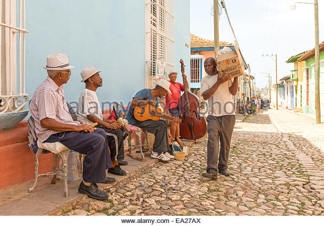 Traditional Musicians and Everyday Life in Trinidad, Cuba. Trinidad is a town in the province of Sancti Spiritus - Stock-Bilder