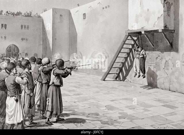 The execution of The Bab in Tabriz in 1850.  The Báb, birth name Sayyed ?Ali Muhammad Shir?zi, 1819 ?  1850. - Stock-Bilder