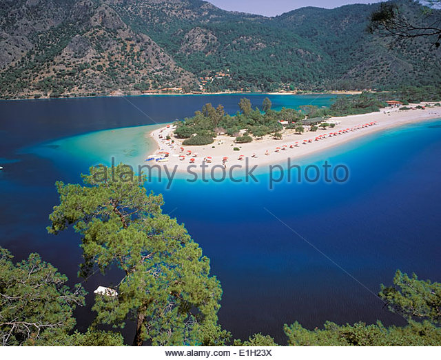 View of the Blue Lagoon, Oludeniz, Anatolia, Turkey - Stock Image