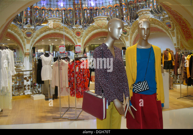 Paris France Europe French 9th arrondissement Boulevard Haussmann Galeries Lafayette department store shopping fashion - Stock Image