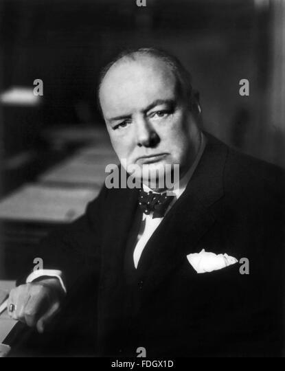 Winston Churchill. Portrait of British Prime Minister Sir Wiinston Churchill, c.1941 - Stock Image