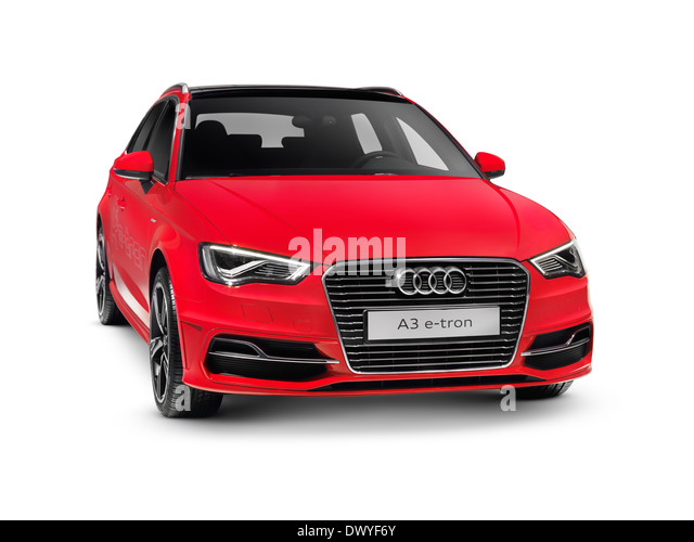 Red 2015 Audi A3 Sportback e-tron plug-in hybrid car. Isolated on white background with clipping path. - Stock Image