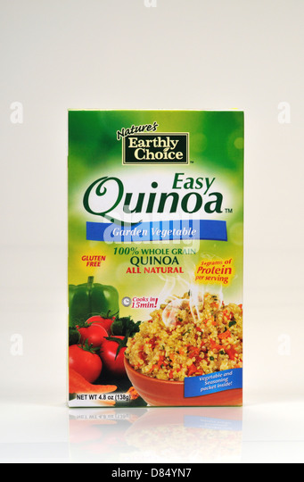 Unopened Box of Nature's Earthly Choice Easy Quinoa on white background, cutout. USA - Stock Image