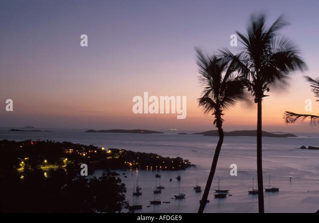 US Virgin Islands St. John Cruz Bay view of Cruz Bay Harbor from North Shore Road dusk USVI003 - Stock Image