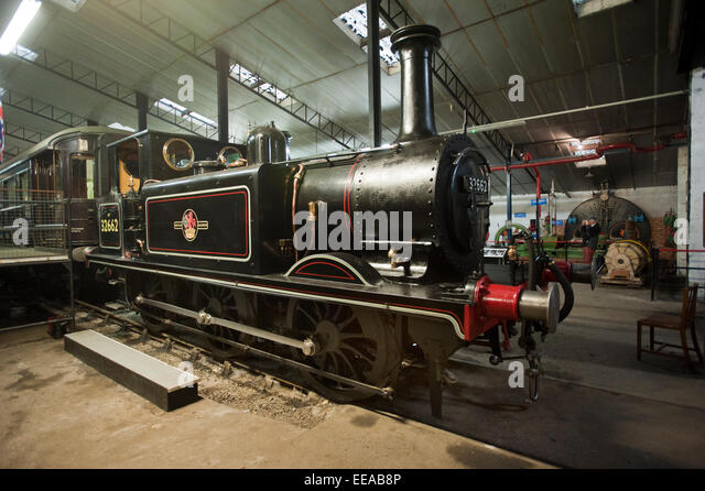 Inside Bressingham Steam Museum Exhibition Hall,  a Brighton Terrier A1X 0-6-0 steam locomotive No. 662 dating from - Stock Image
