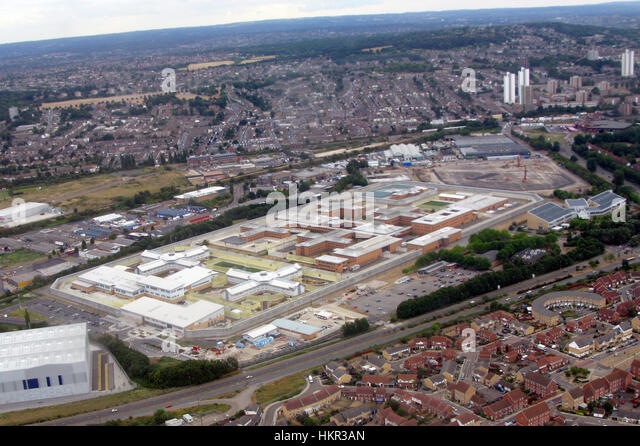 An Aerial view of Belmarsh High security category A prison in Thames mead South East London. - Stock Image