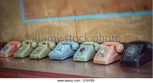 Emergency Telephones of Days Gone By - Palace, Saigon,Vietnam - Stock Image