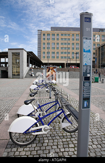 Bicycles in station square oslo - Stock Image