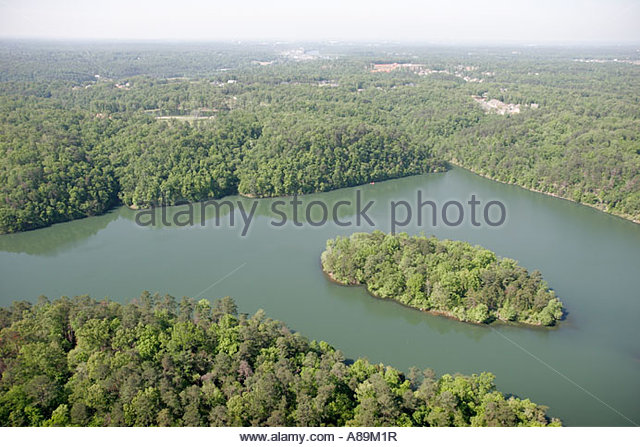 Tuscaloosa Alabama Lake Harris island aerial - Stock Image