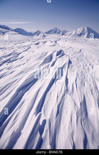 Snow drifts on Spencer Glacier, Kenai Mountains, Chugach National Forest, SC, Alaska - Stock Image