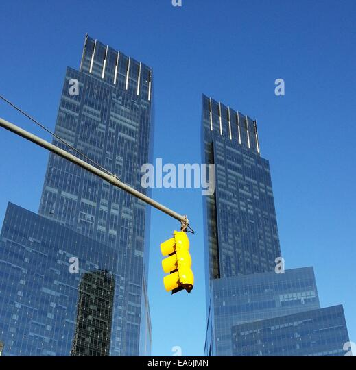 USA New York State New York City Columbus Circle Time Warner Center View of skyscrapers - Stock Image