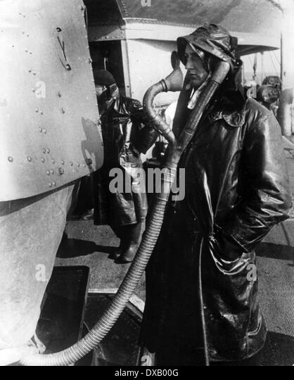 Royal Navy world war two. A gunner wearing communications voice tube headset during WW11 - Stock Image