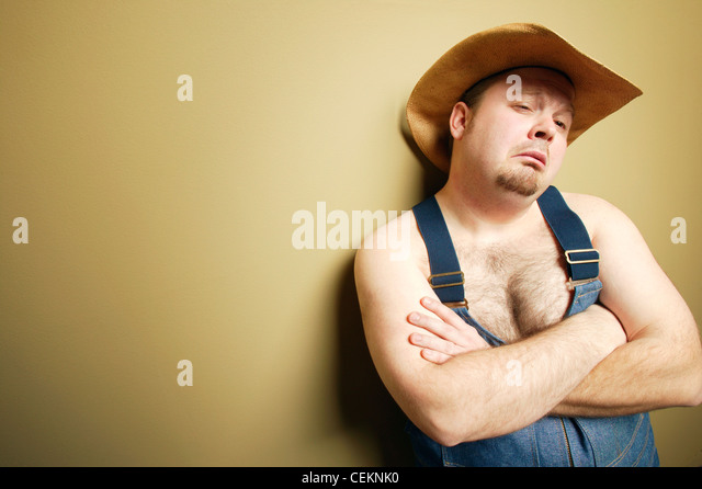 Man With Cowboy Hat - Stock Image