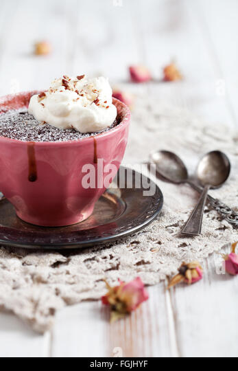 Homemade chocolate mug cake with icing sugar - Stock Image