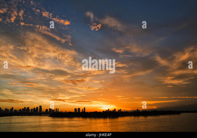 Sunset time in Miami - Stock Image