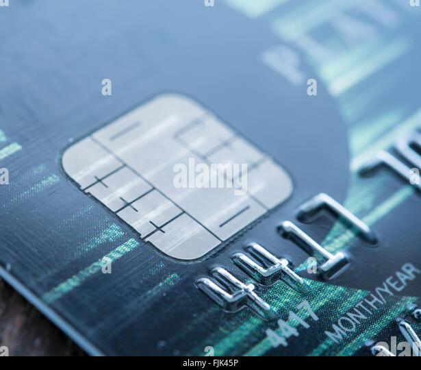 close-up credit card. blue tone - Stock Image