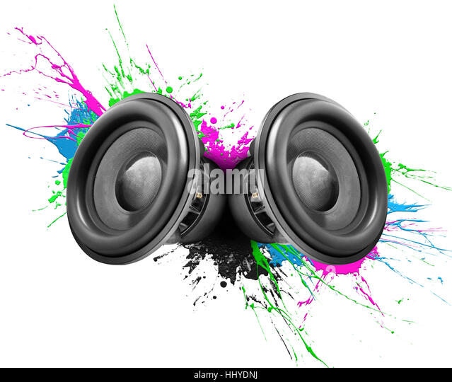 Music speakers with colorful paint splashes on white background - Stock Image