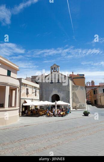 Street scenes of Alghero in Northern Sardinia - Stock Image