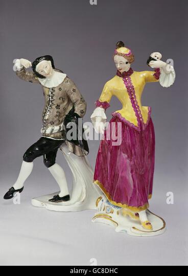 fine arts, porcelain, figures, Scaramuccia and Columbina, Franz Anton Bustelli, Nymphenburg Porcelain Manufactory, - Stock Image