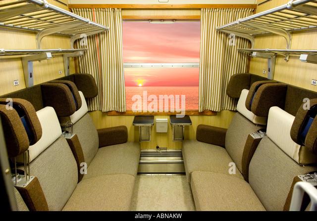 Old intercity train compartment - Stock-Bilder