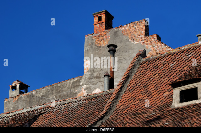 Roof medieval architecture detail in Brasov, Romania - Stock Image