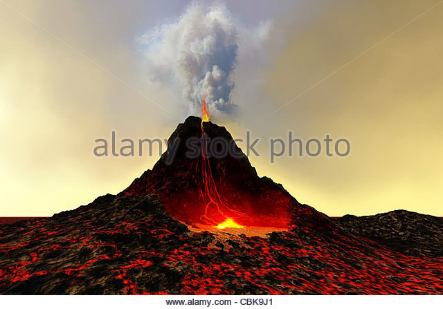 An active volcano spews out hot red lava and smoke. - Stock Image