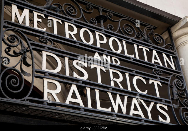 Signage at the entrance to South Kensington Underground station - Stock Image