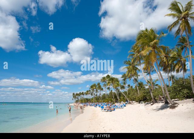 Beach at Bayahibe, South Coast, Dominican Republic, Caribbean - Stock Image