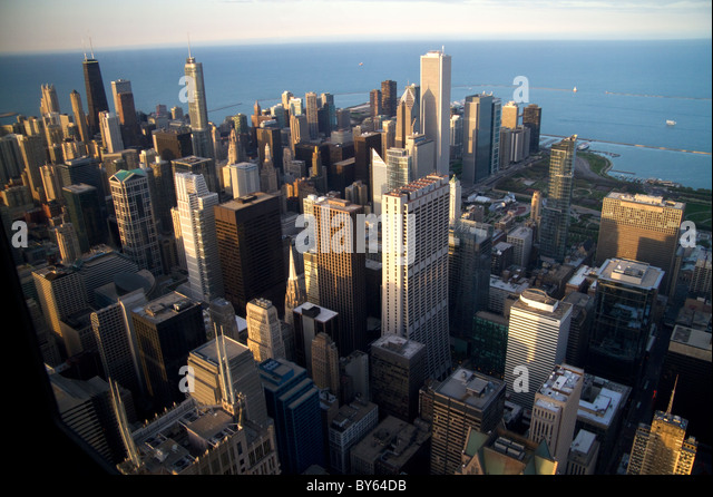 Aerial view of the city and Lake Michigan waterfront from the Willis Tower in Chicago, Illinois, USA. - Stock Image