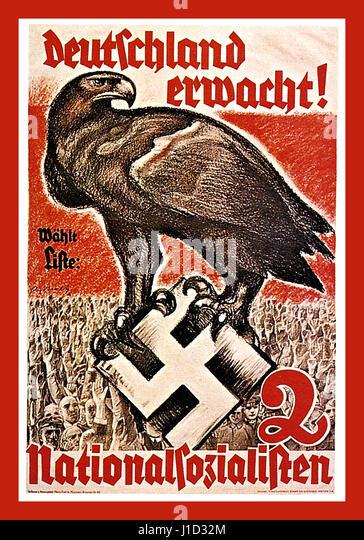 1930's pre-war German Nazi propaganda poster for The National Socialist Party saying  'GERMANY AWAKE' - Stock Image