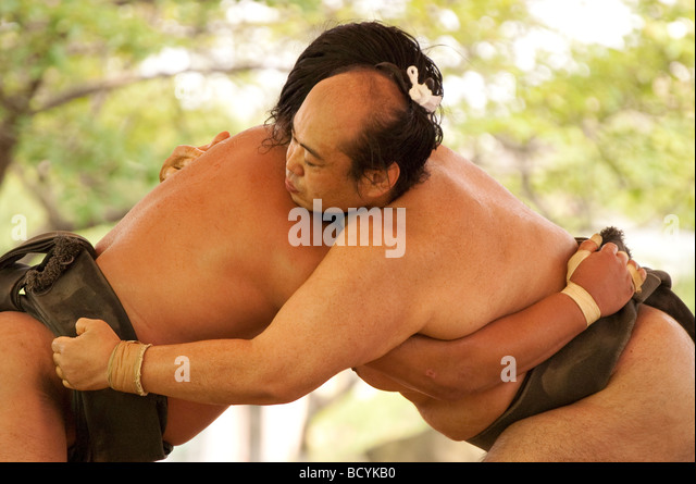 Sumo wrestlers of the Minezaki Heya during their early morning training, Kyuka Koen (Nine Flowers Park), Kuwana, - Stock Image