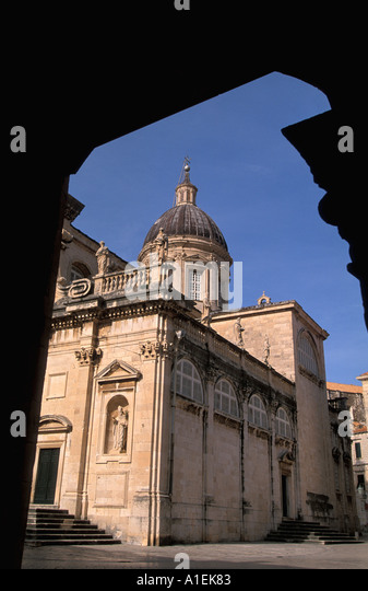 Dubrovnik Croatia Old Town Walled City Assumption of Virgin Cathedral - Stock Image