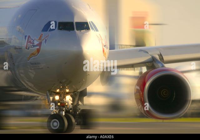 Airbus A340 642 of Virgin Atlantic Airways G-VEIL - Stock Image