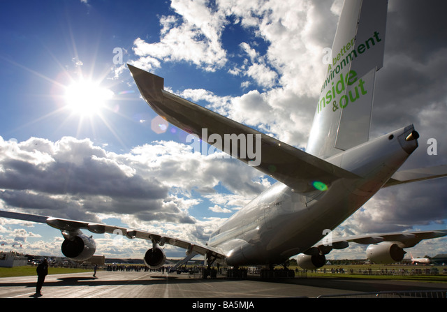 Airbus A380 at Farnborough International Airshow 2008 United Kingdom - Stock Image
