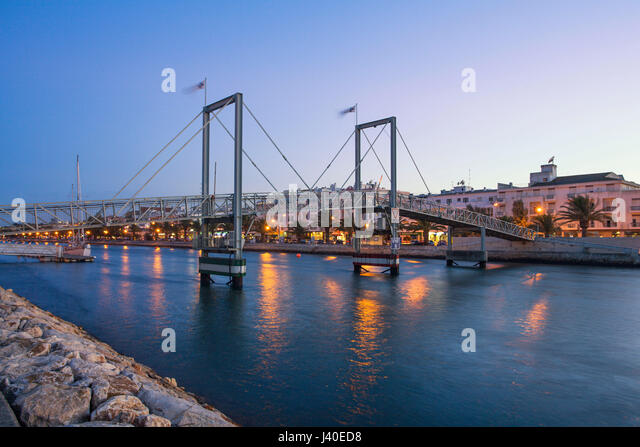 foot  bridge over canal, Lagos, algarve, Portugal - Stock Image
