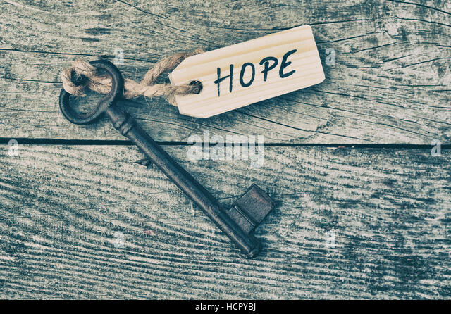 Key and label. Hope concept - Stock Image