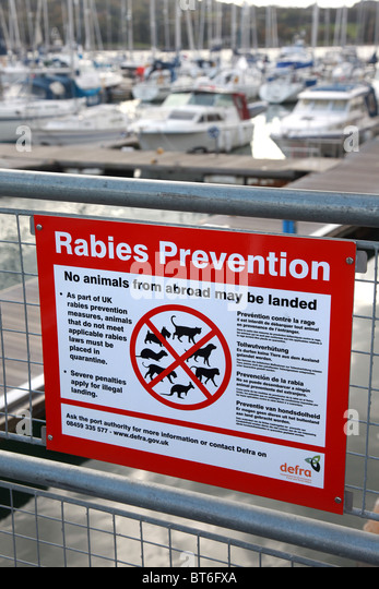 Rabies prevention sign for the UK. - Stock Image