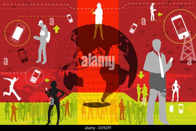 Illustrative representation showing global communication - Stock Image