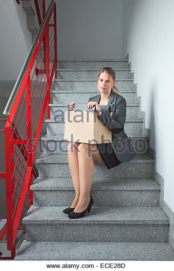 Business woman jobless depressed unemployed - Stock Image