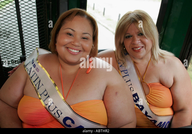 Puerto Rico Old San Juan free trolley Hispanic females Miss Latin Plus beauty pageant contestants overweight - Stock Image