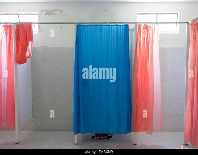 Changing room at pool - Stock Image