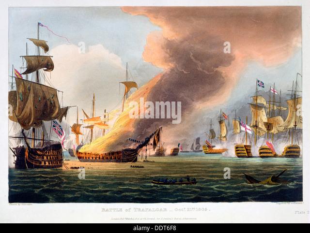 The Battle of Trafalgar, 21st October 1805 (1816). Artist: Thomas Sutherland - Stock Image