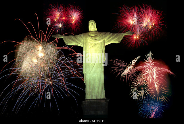 Brasil Rio de Janeiro Corcovado Hill Christ the Redeemer Statue on top 710m on Mount Corcovado fireworks composing - Stock Image