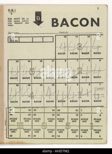 Bacon Ration Coupons - Stock-Bilder