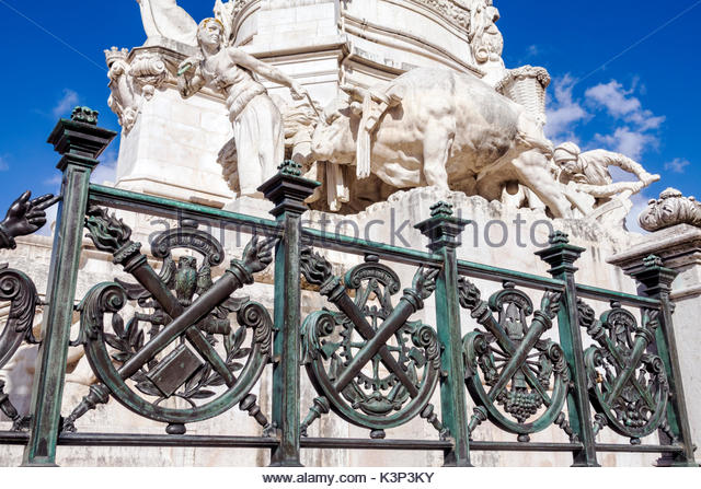 Lisbon Portugal Marquis of Pombal Square Marquess monument plaza roundabout rotunda monument statue detail - Stock Image